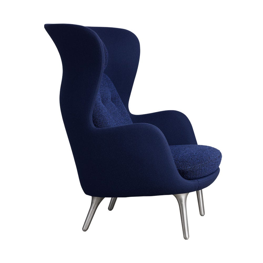 Ro Chair Shell in Twill Weave Blue and Back/Seat Cushions in Safire Blue