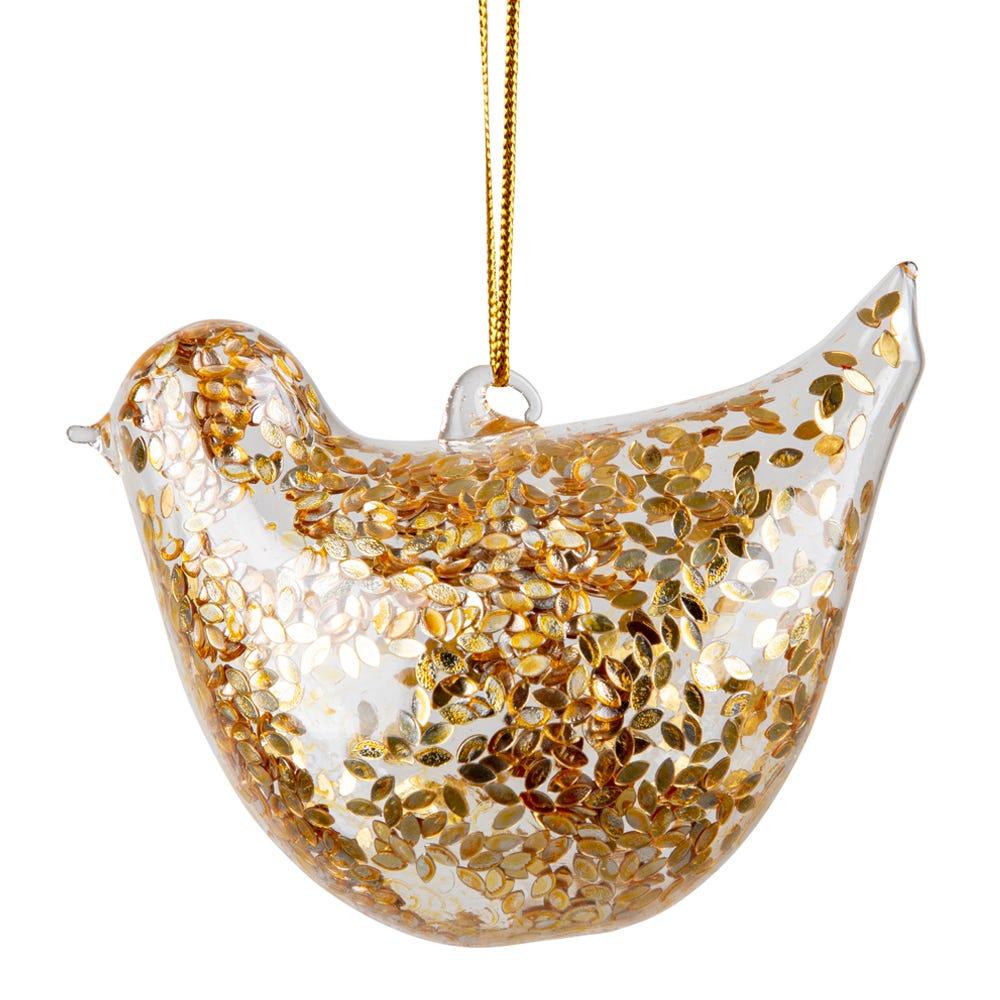 Robin Decoration Large Gold Glitter