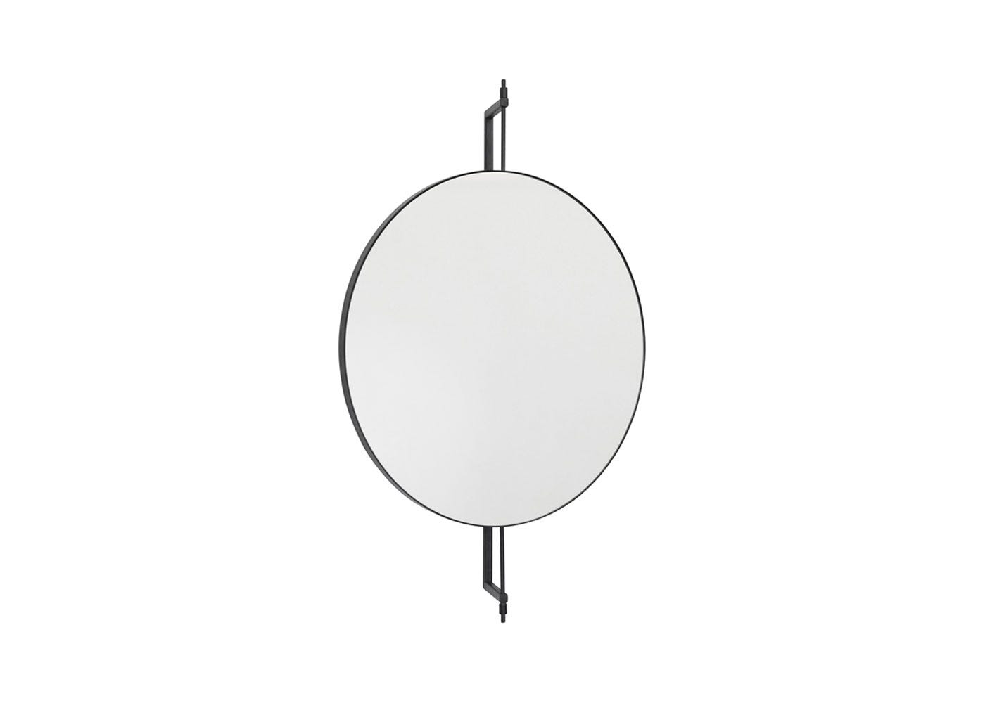As Shown: Round Rotating Mirror in Black