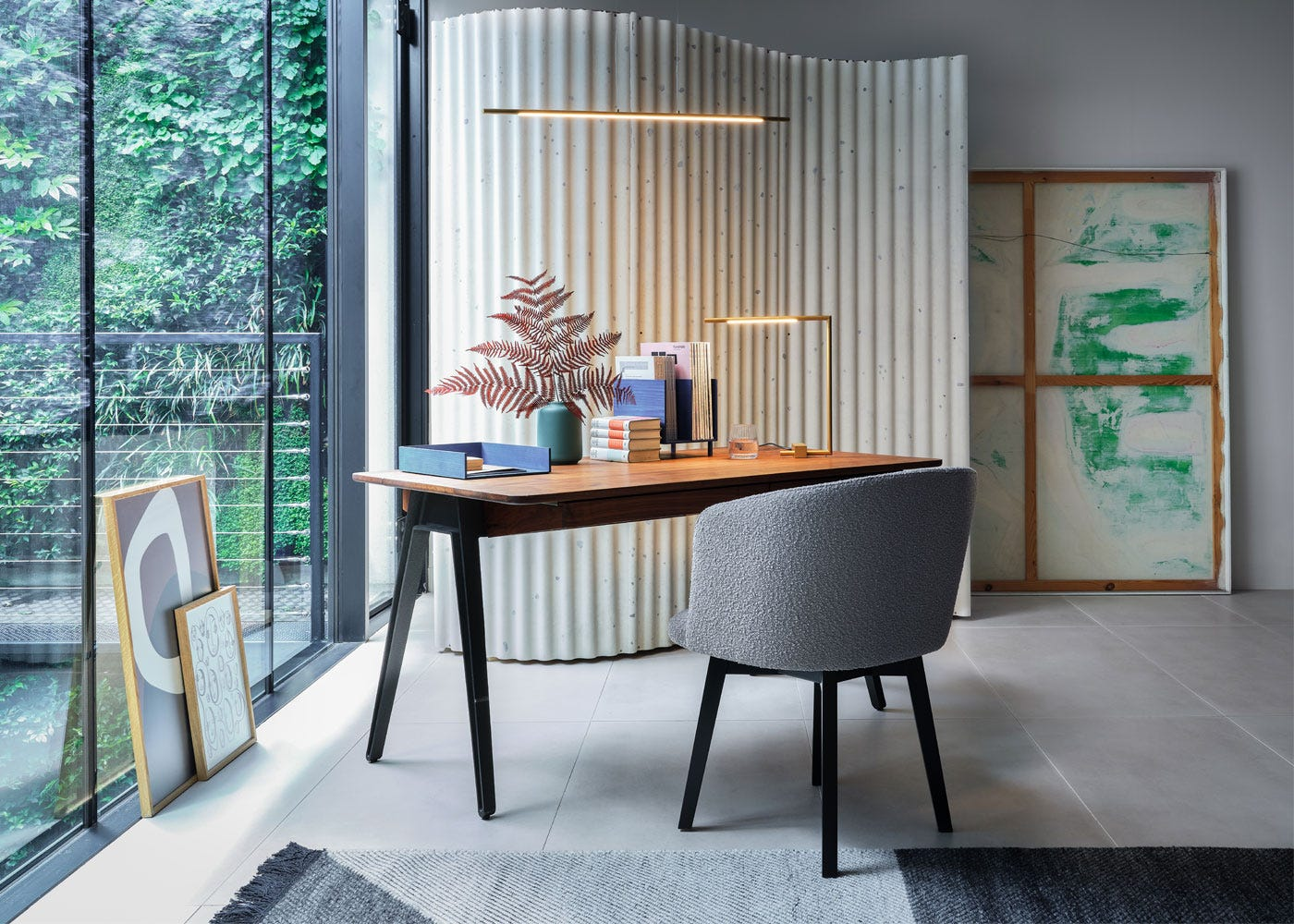 As shown: Edit swivel chair, Orson desk walnut, Saber LED desk lamp brass
