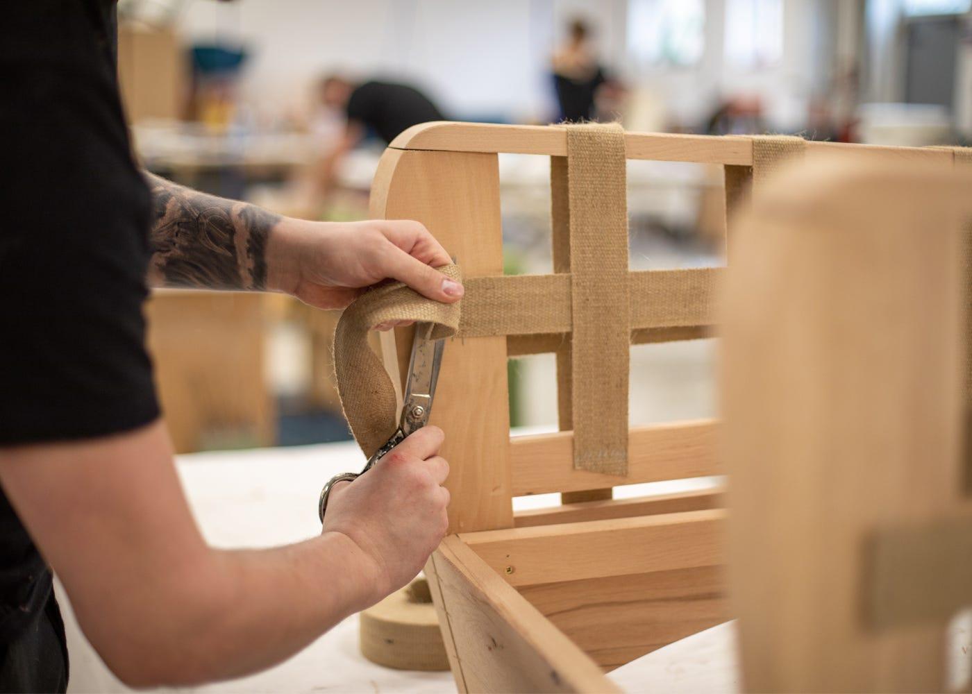 Each Balzac armchair and footstool is handmade in Norfolk