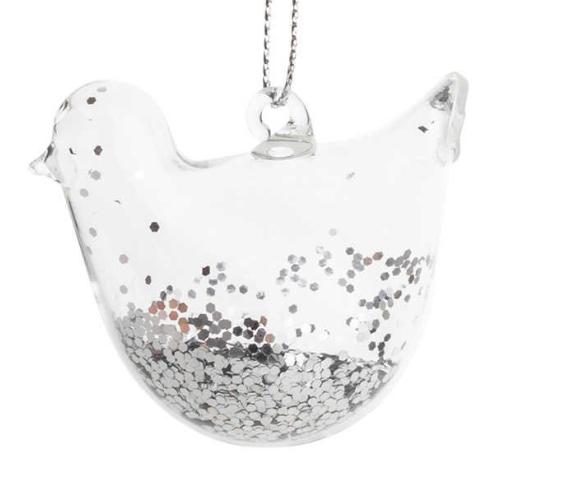 Robin Decoration Silver Glitter Clear 5cm