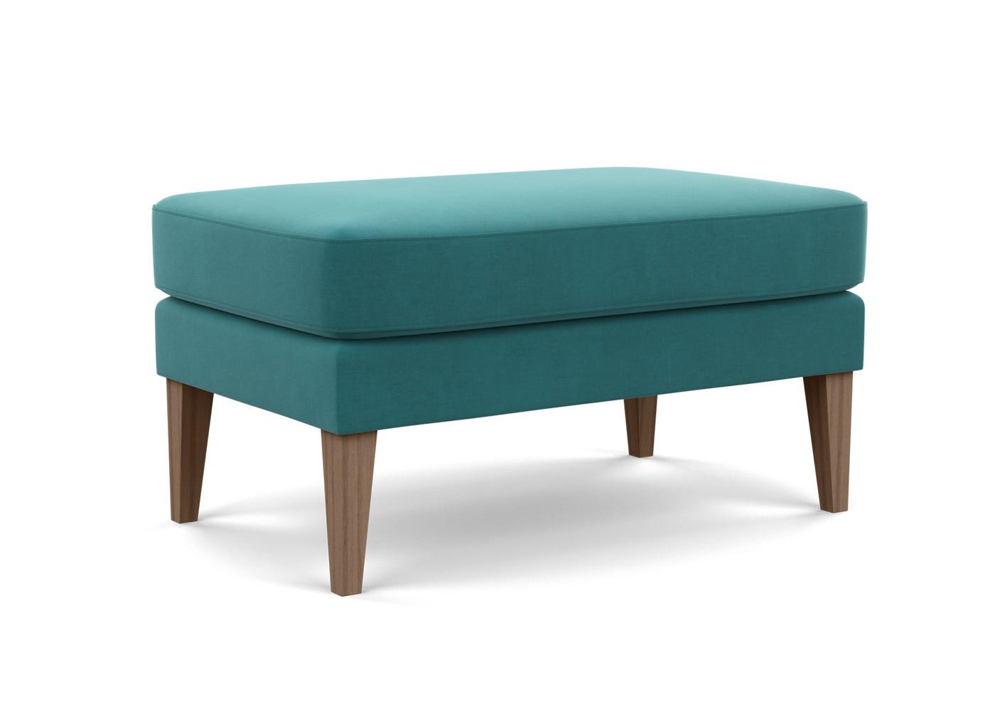 Footstool in Smart Velvet Turquoise