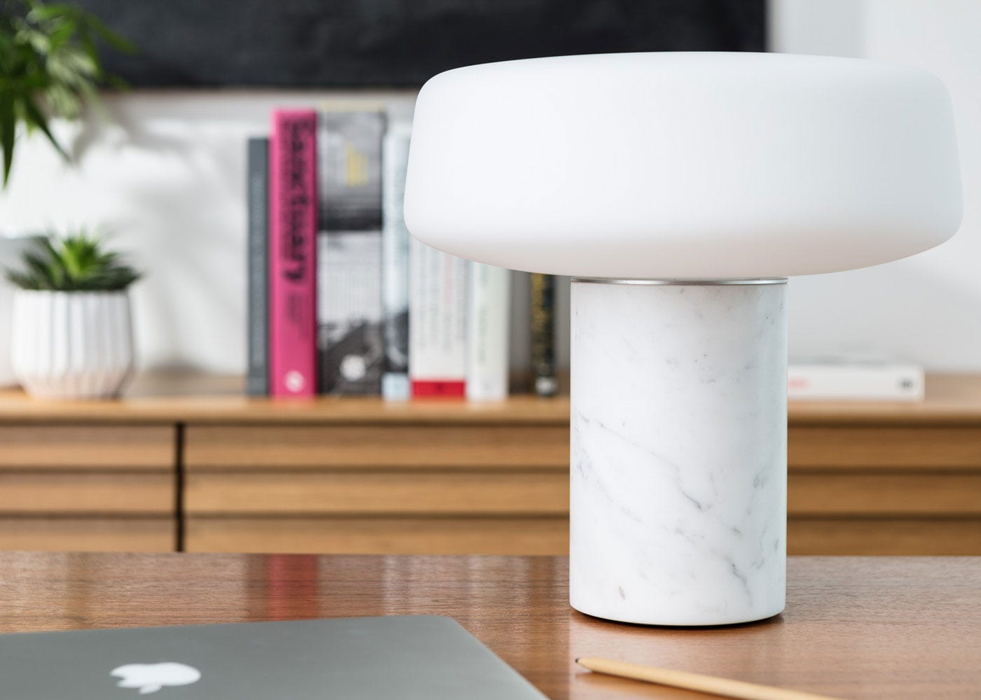 As shown: Solid Table Lamp large in carrara marble.