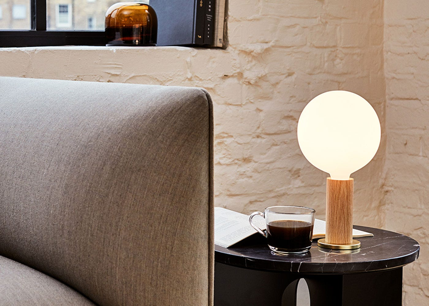 As Shown: Knuckle Table Lamp Oak Paired With Sphere Bulb (Bulb Sold Separately)