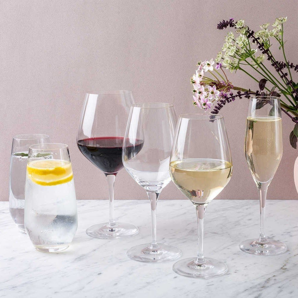 From left to right: 2 x High Ball, Burgundy, Red Wine, White Wine, Champagne Flute