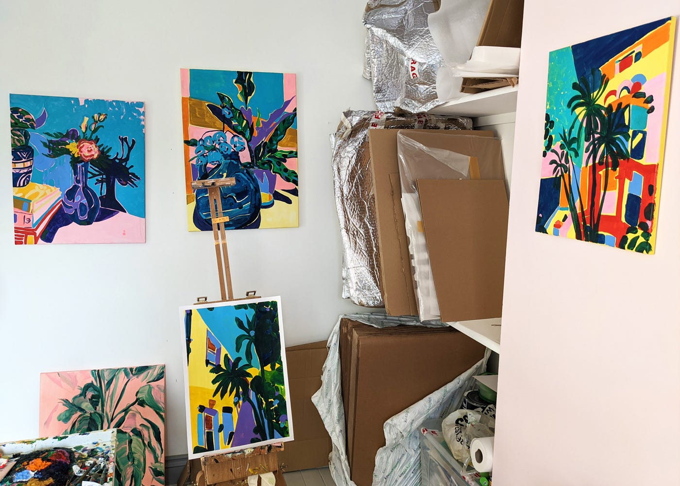 Elizabeth Power's studio with the Nina original canvas seen here on the far right