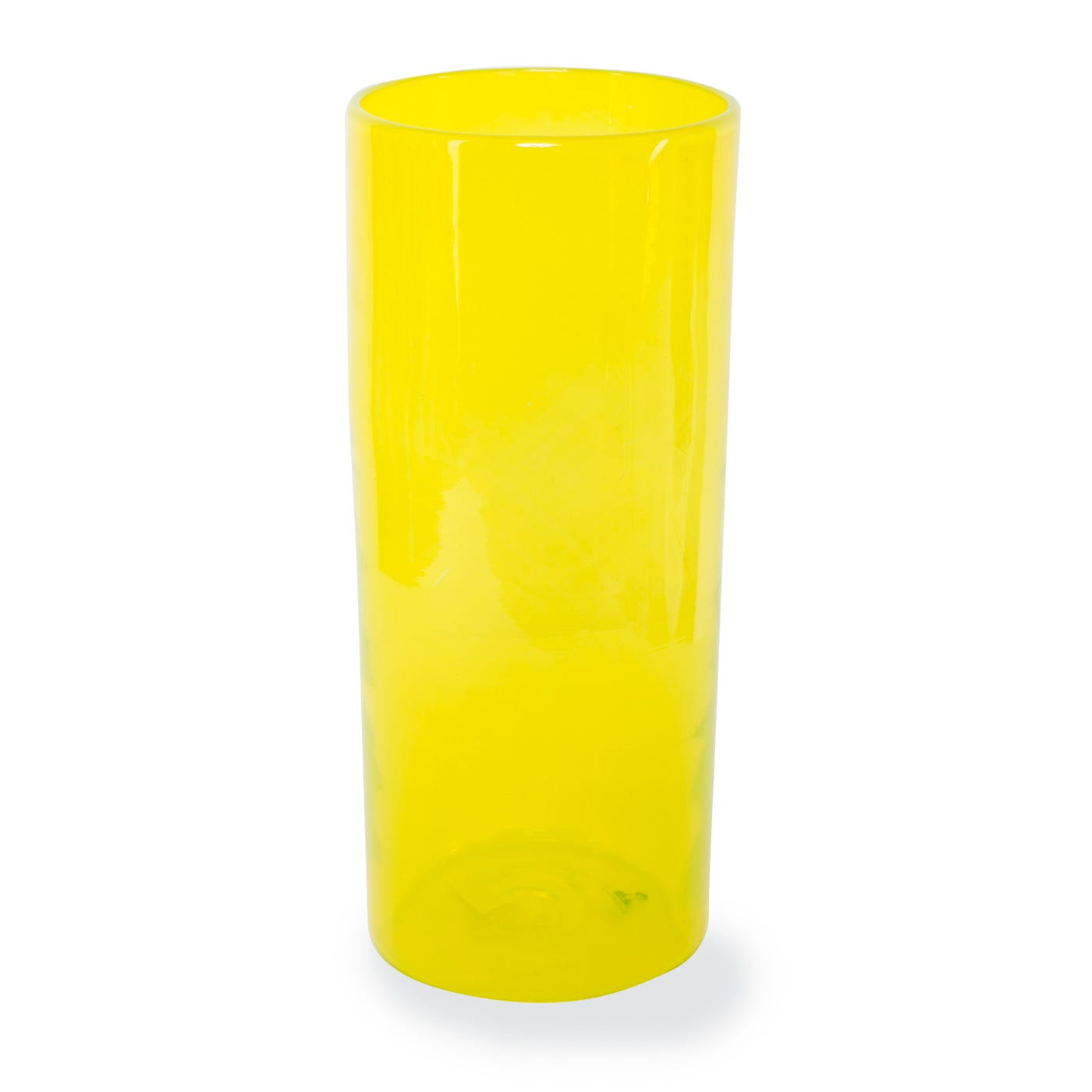 Recycled Glass Tall Vase Yellow