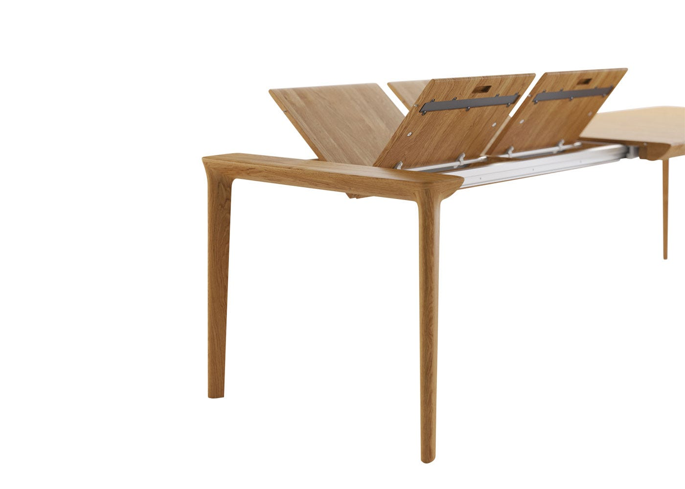 As Shown: Tara dining table in oak with leaves.