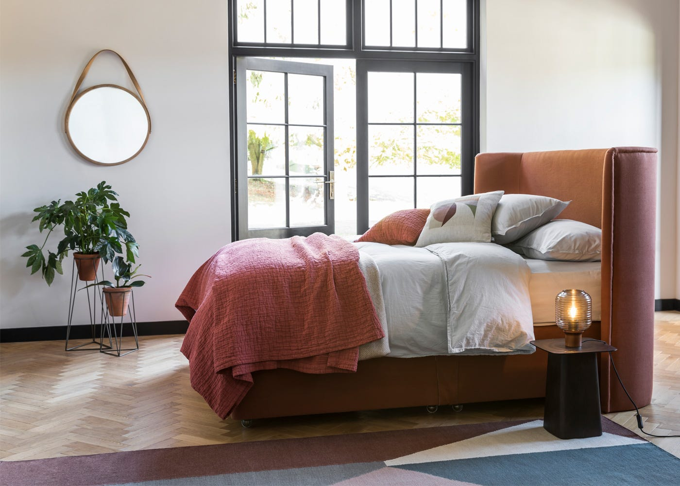Monroe Bed with Jara Planters and Tom Raffield's Harlyn Mirror