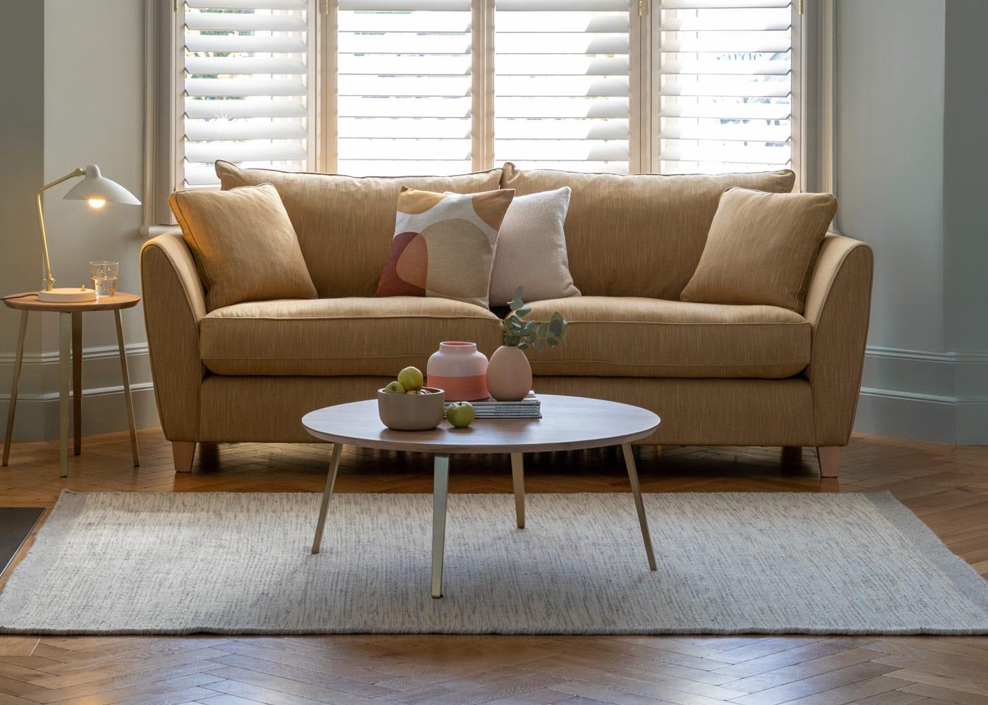 Torino 3 Seater Sofa in Smart Linen Mix Sand