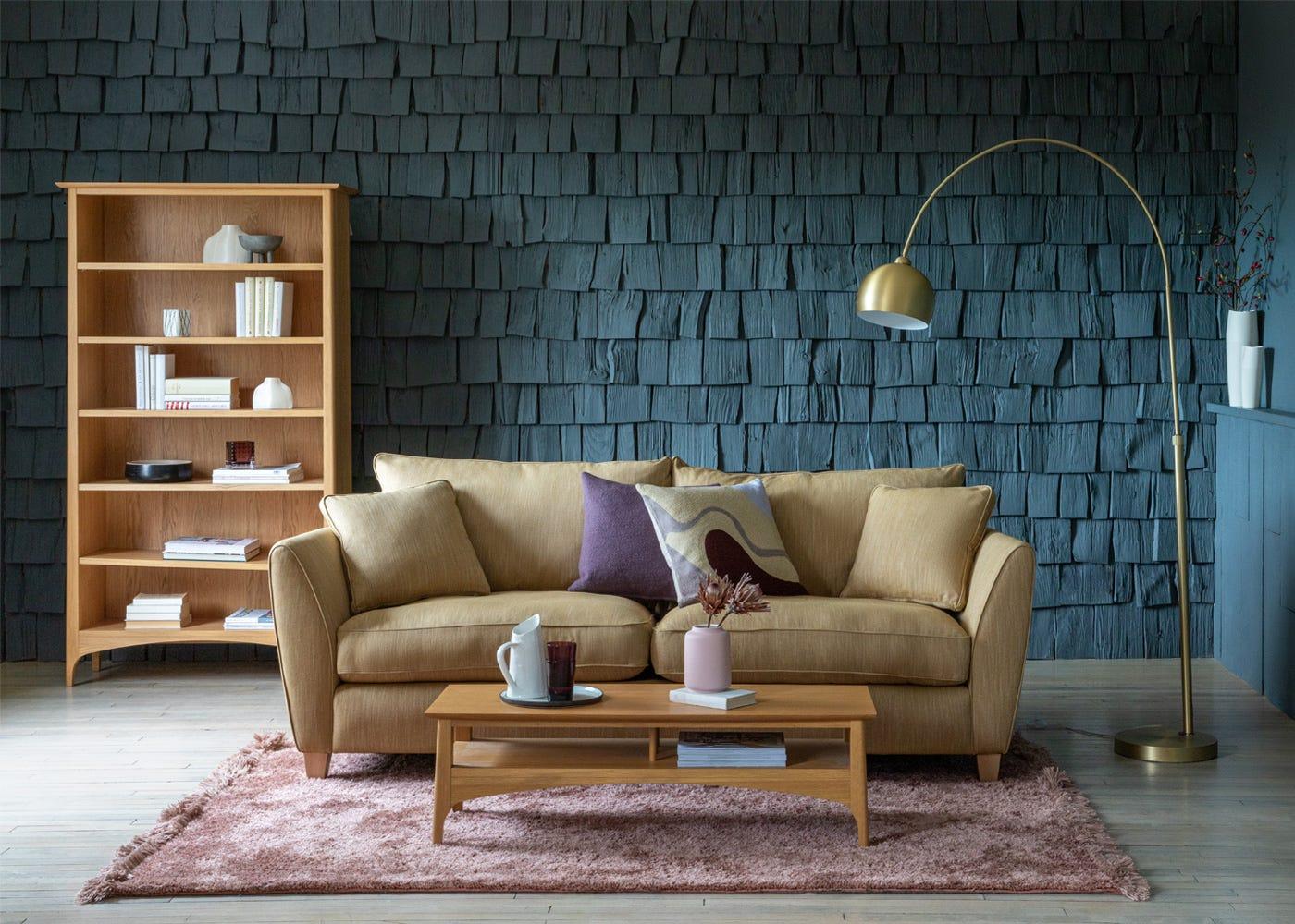 Kisho Rug with Torino Sofa, Mini Lounge Floor Lamp and Blythe furniture