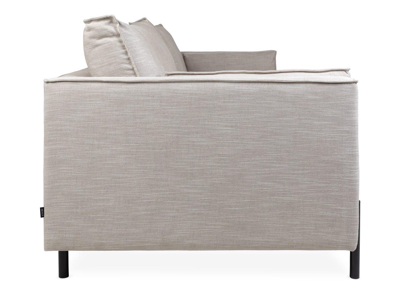 Tortona 4 Seater Sofa in Broad Weave Putty - Side