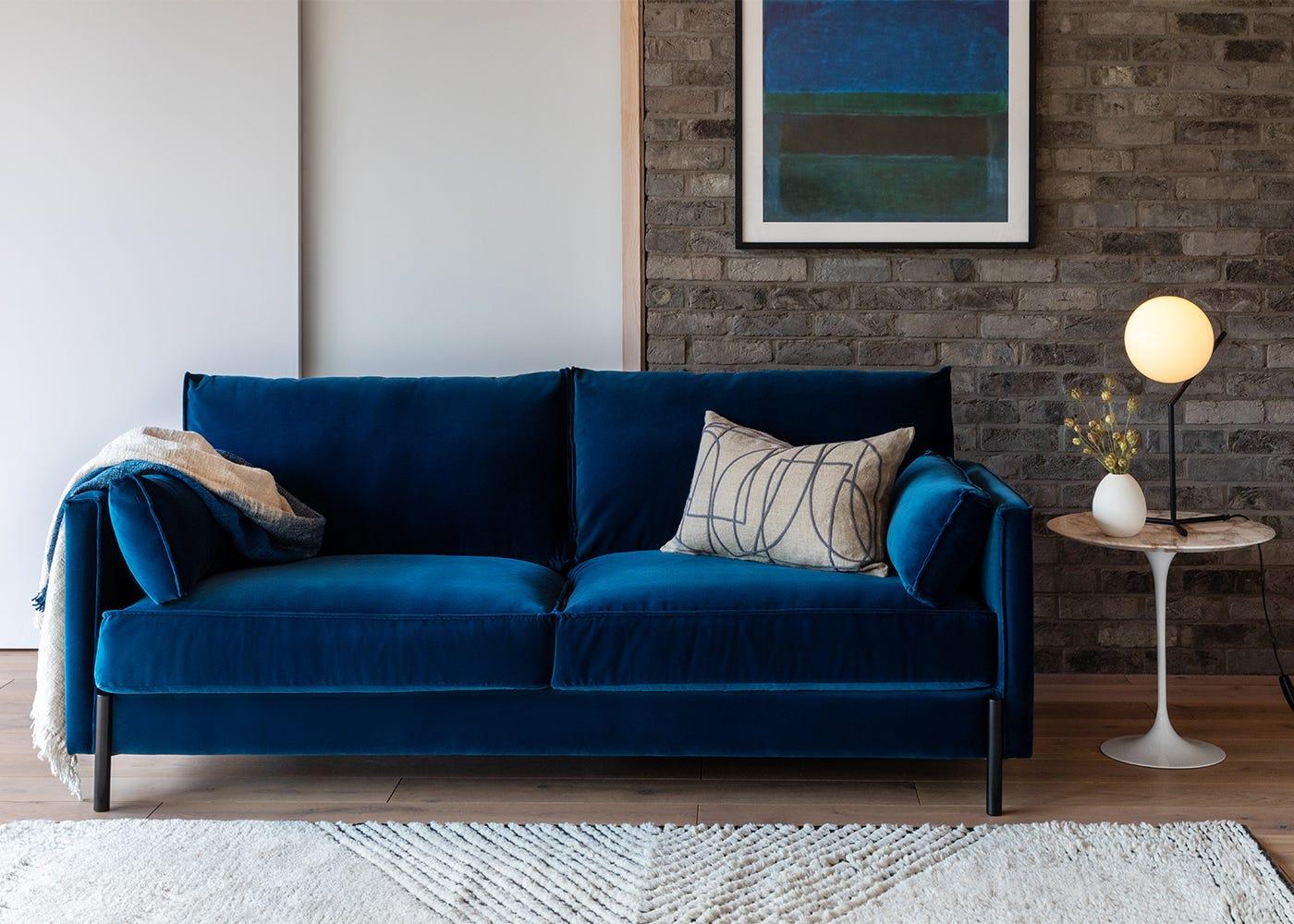 Tortona 3 Seater Sofa in Velvet Petrol Putty
