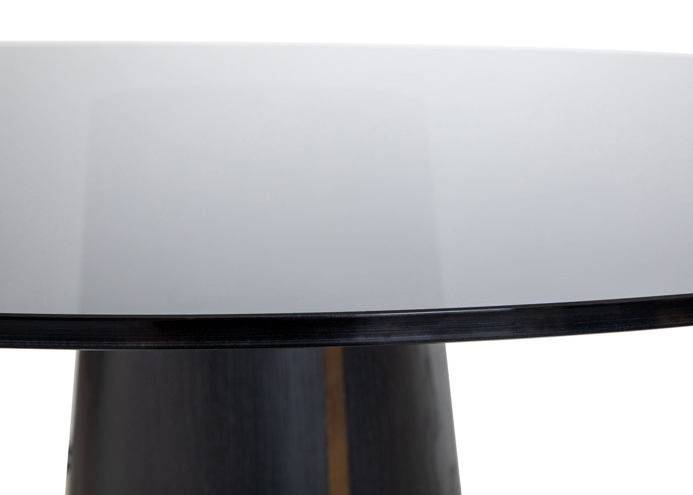As shown: Smoked glass top.