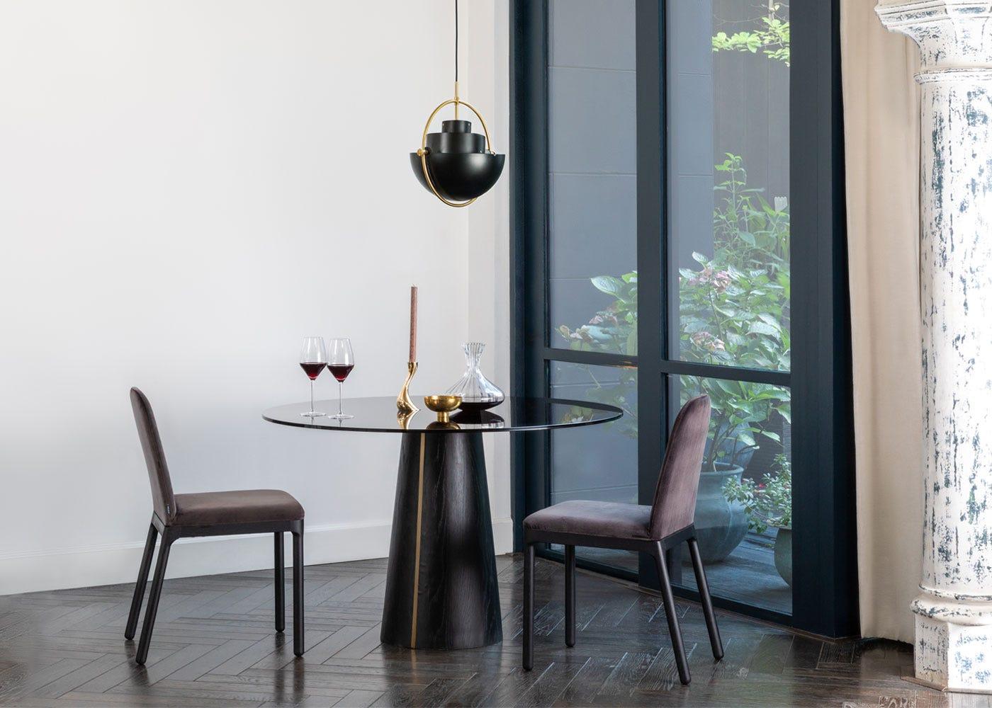 As shown: Totem pedestal dining table, Ellie dining chairs, Gubi Multi-Lite pendant black.