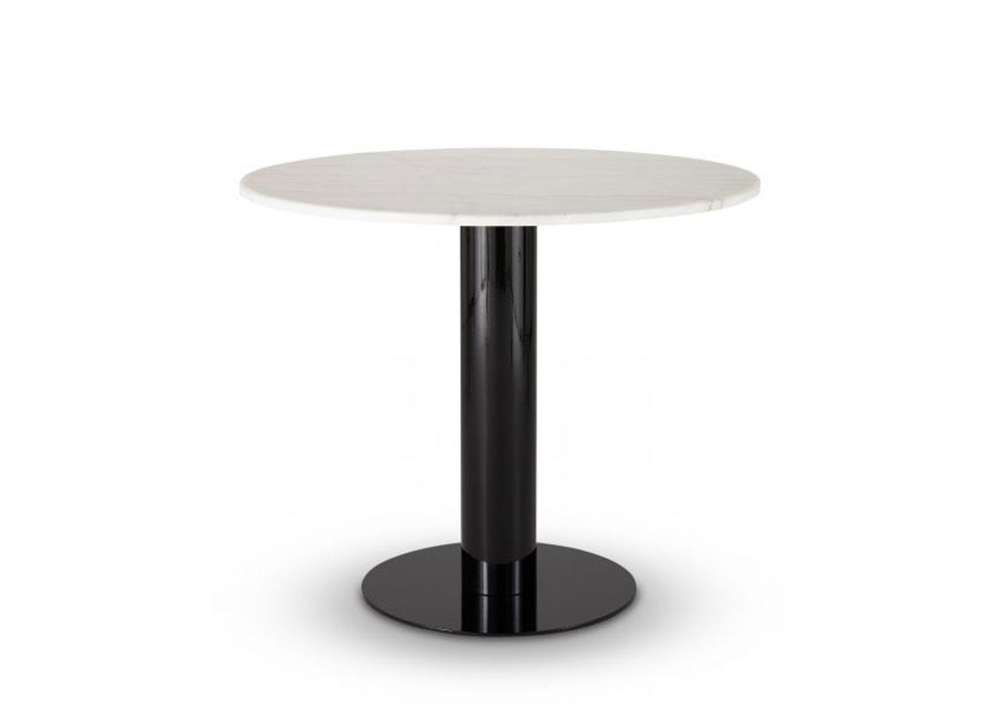 Tube dining table with white marble top
