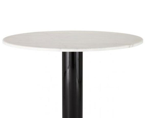 The elegant white marble top contrasts against the black steel base.