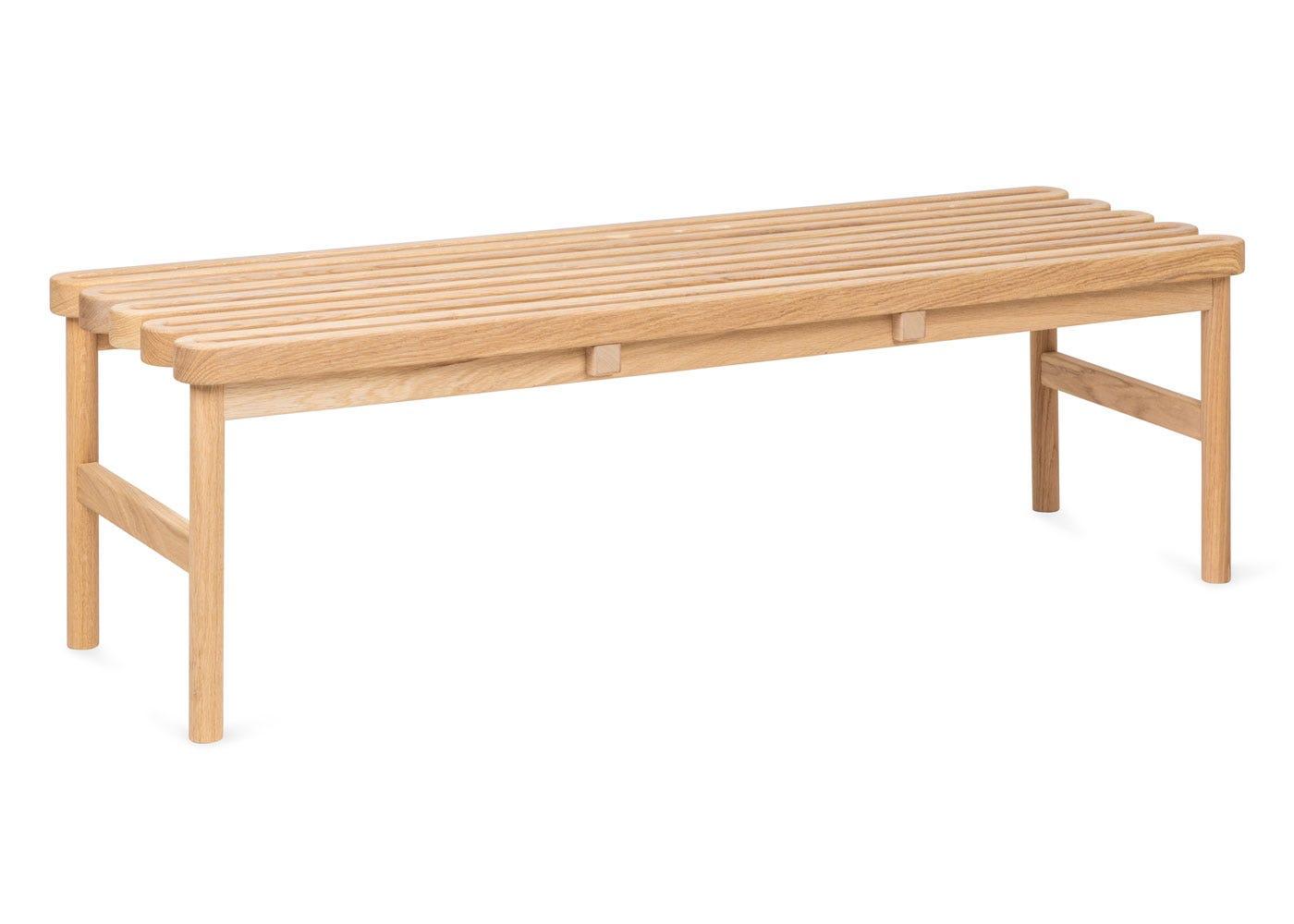 As shown: Studio Gud Twine Bench Solid Oak - Side profile.