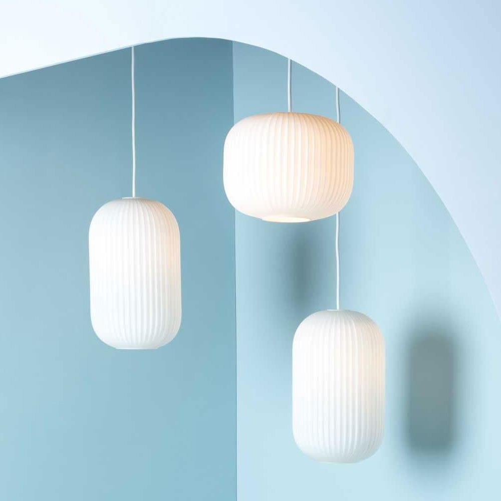As shown: Opal lantern family hung in a cluster.