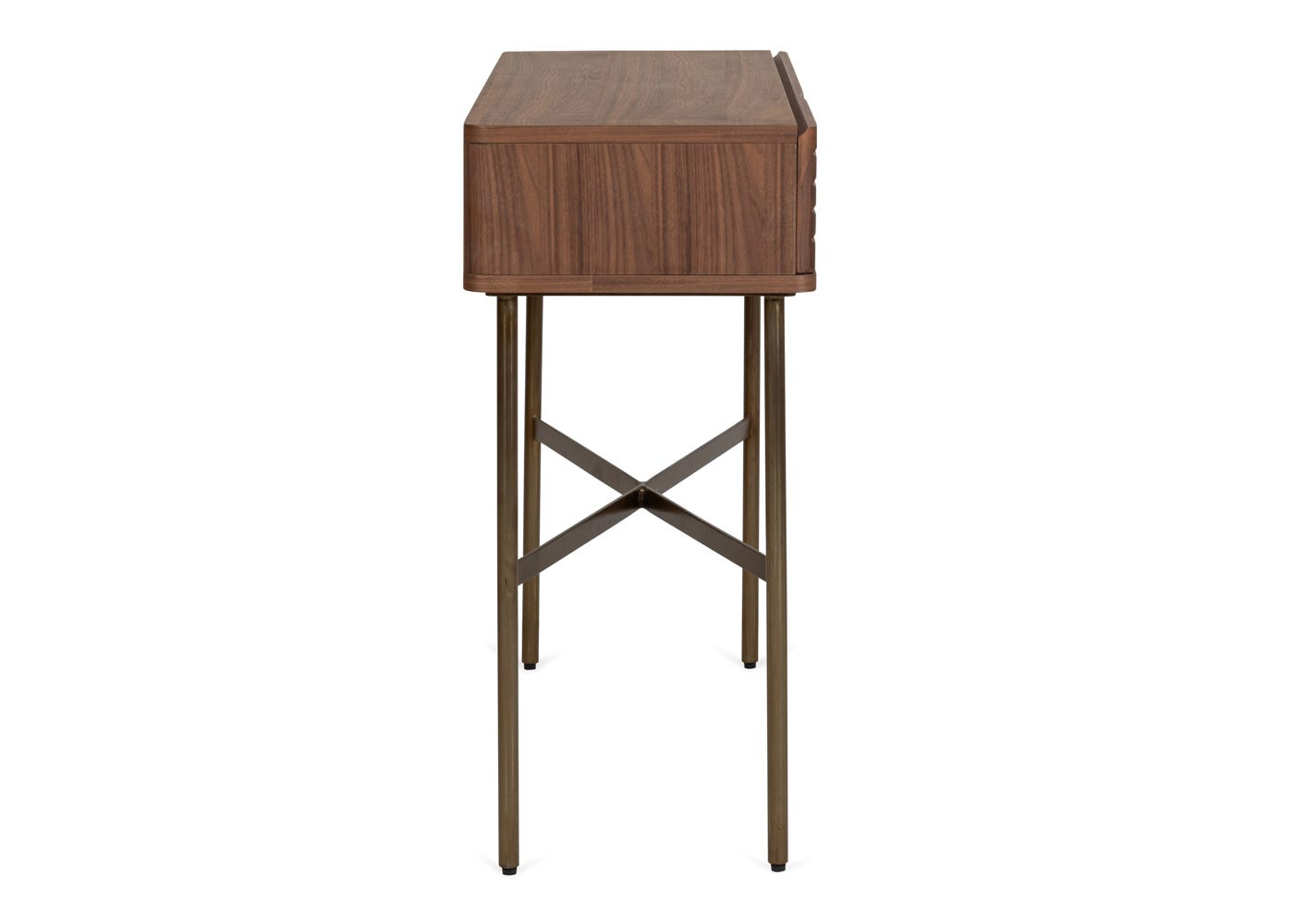 As shown: Valentina console table walnut - Side profile.