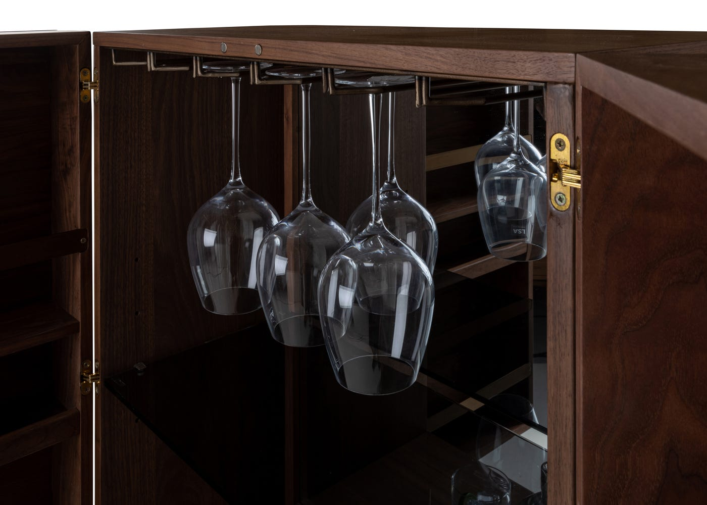 As shown: Interior of the Valentina drinks cabinet.