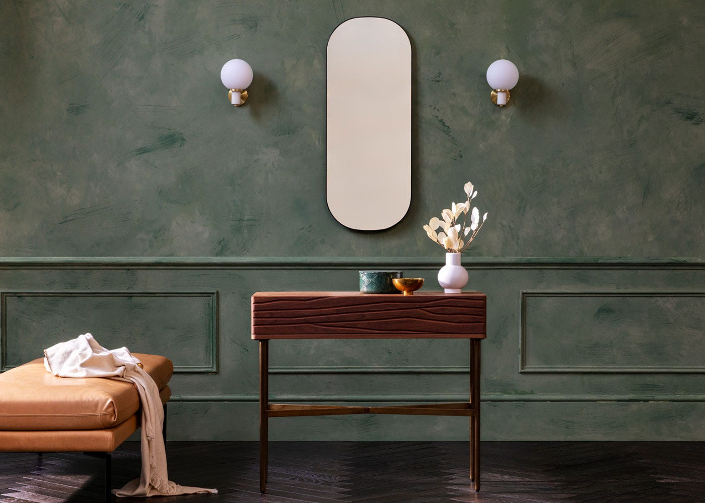 As shown: Valentina console table, Globe wall lights white marble, Fine edge mirror.