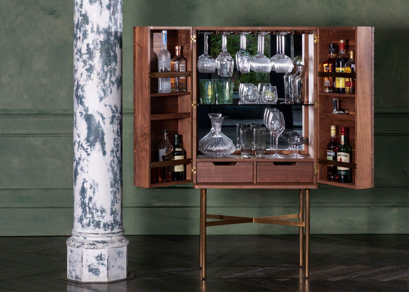 As shown: Valentina Drinks Cabinet - Doors open.