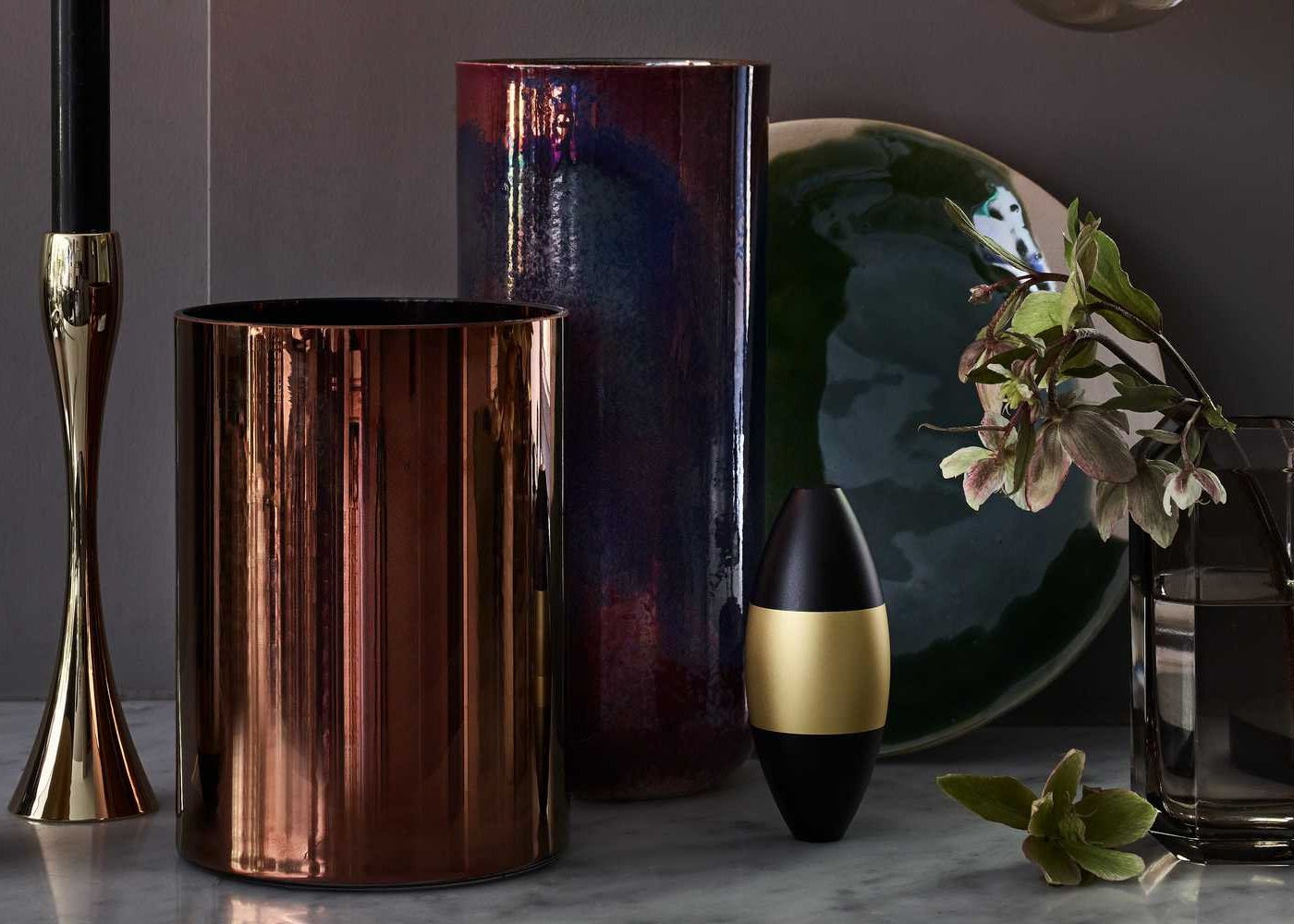 Glass Column Vase Copper Small with Reflection Candlestick and Tube Vase Damson Bronze Lustre