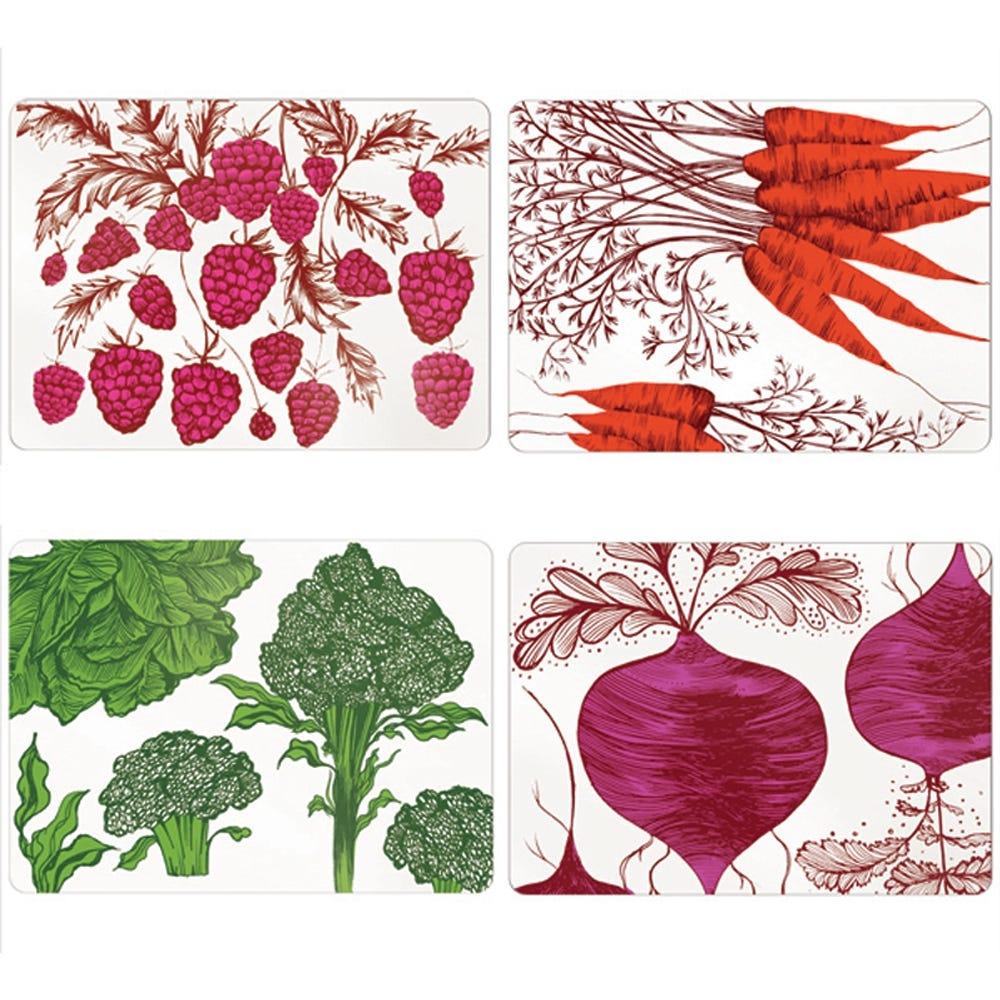 Lush Designs Vegetables Table Mats Set of 4