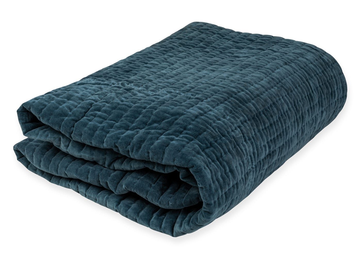 As Shown: Kantha Velvet Bedspread in Blue