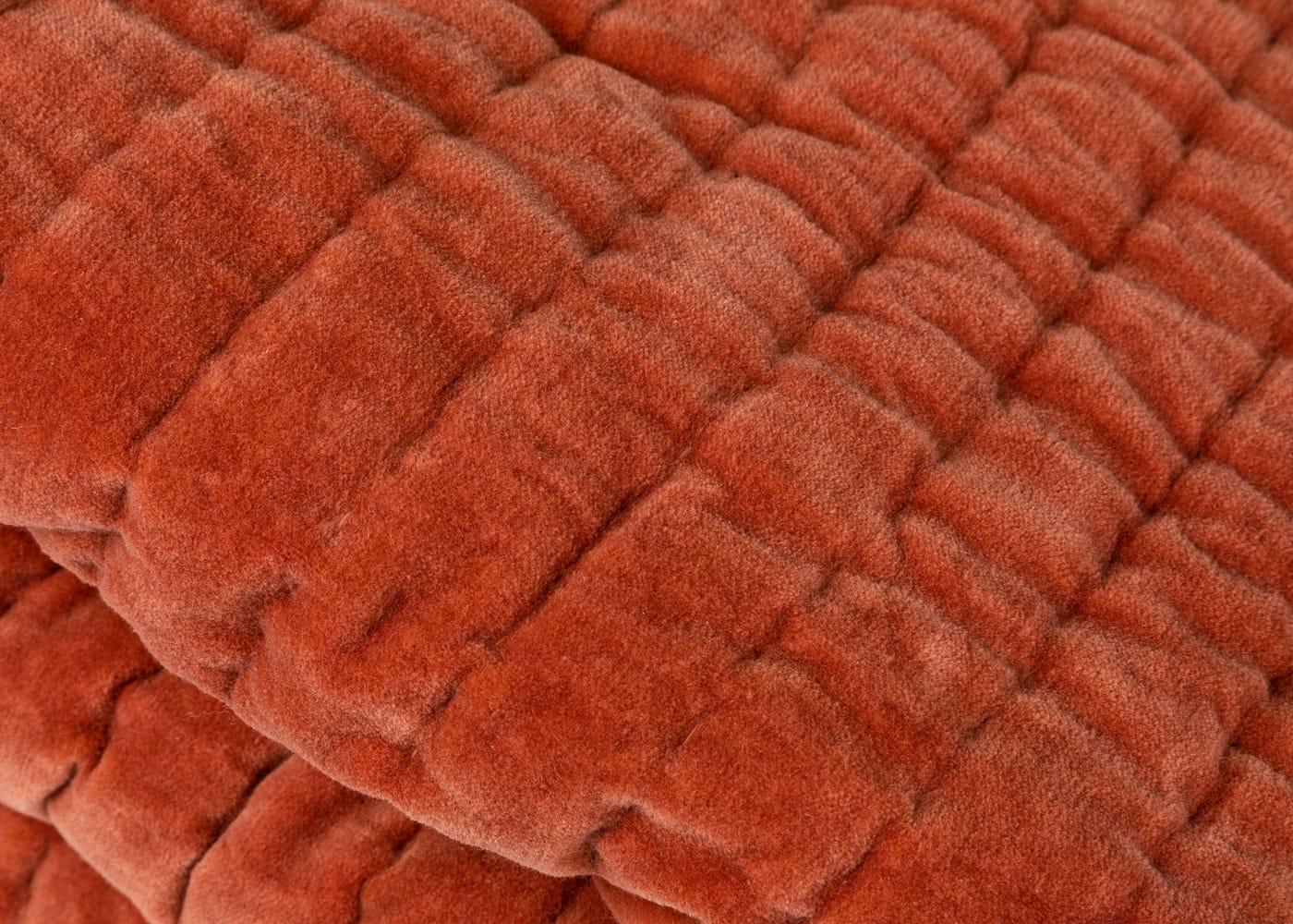 As Shown: Kantha Velvet Bedspread in Terracotta