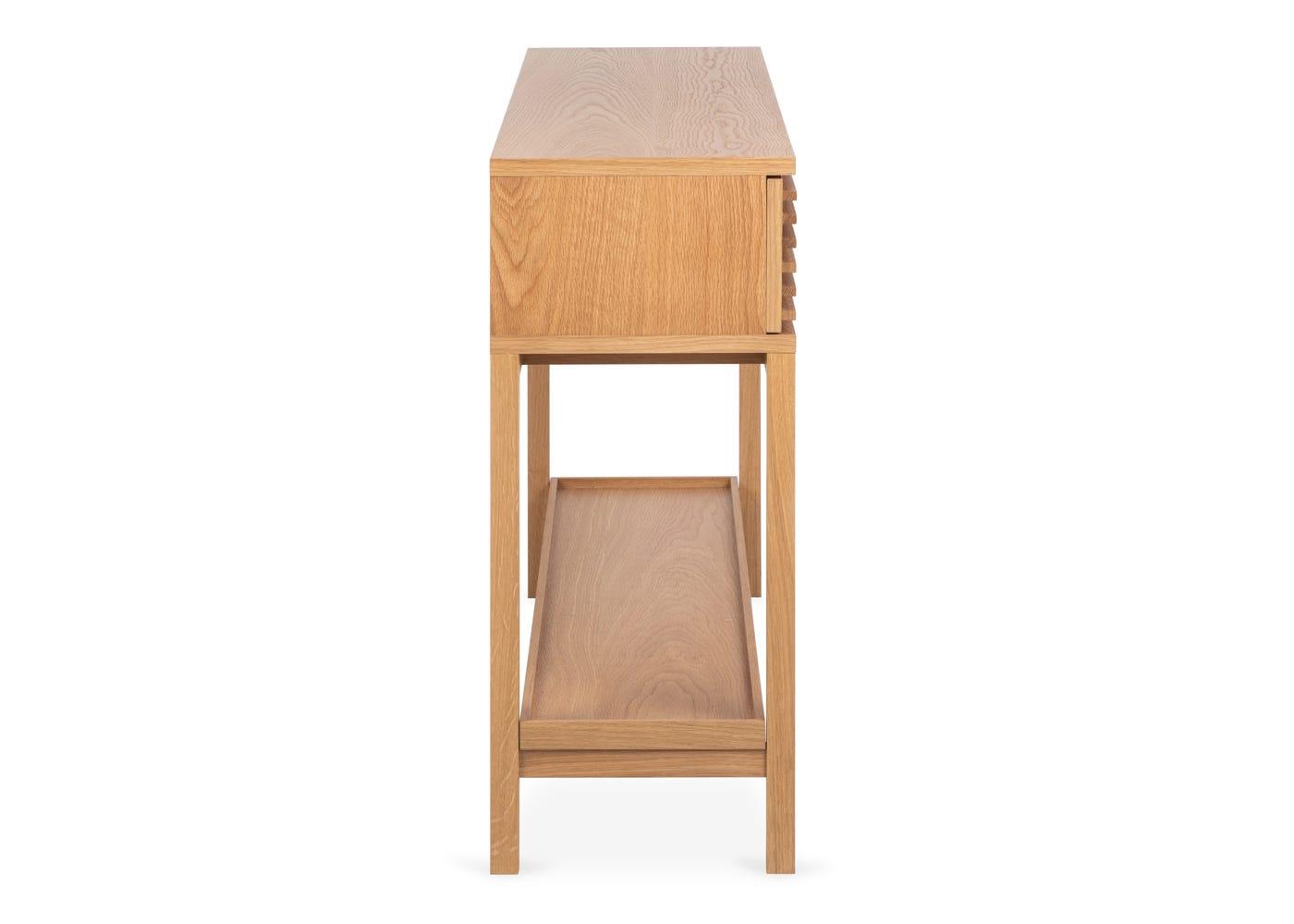 As shown: Verona oak console table - Side profile.