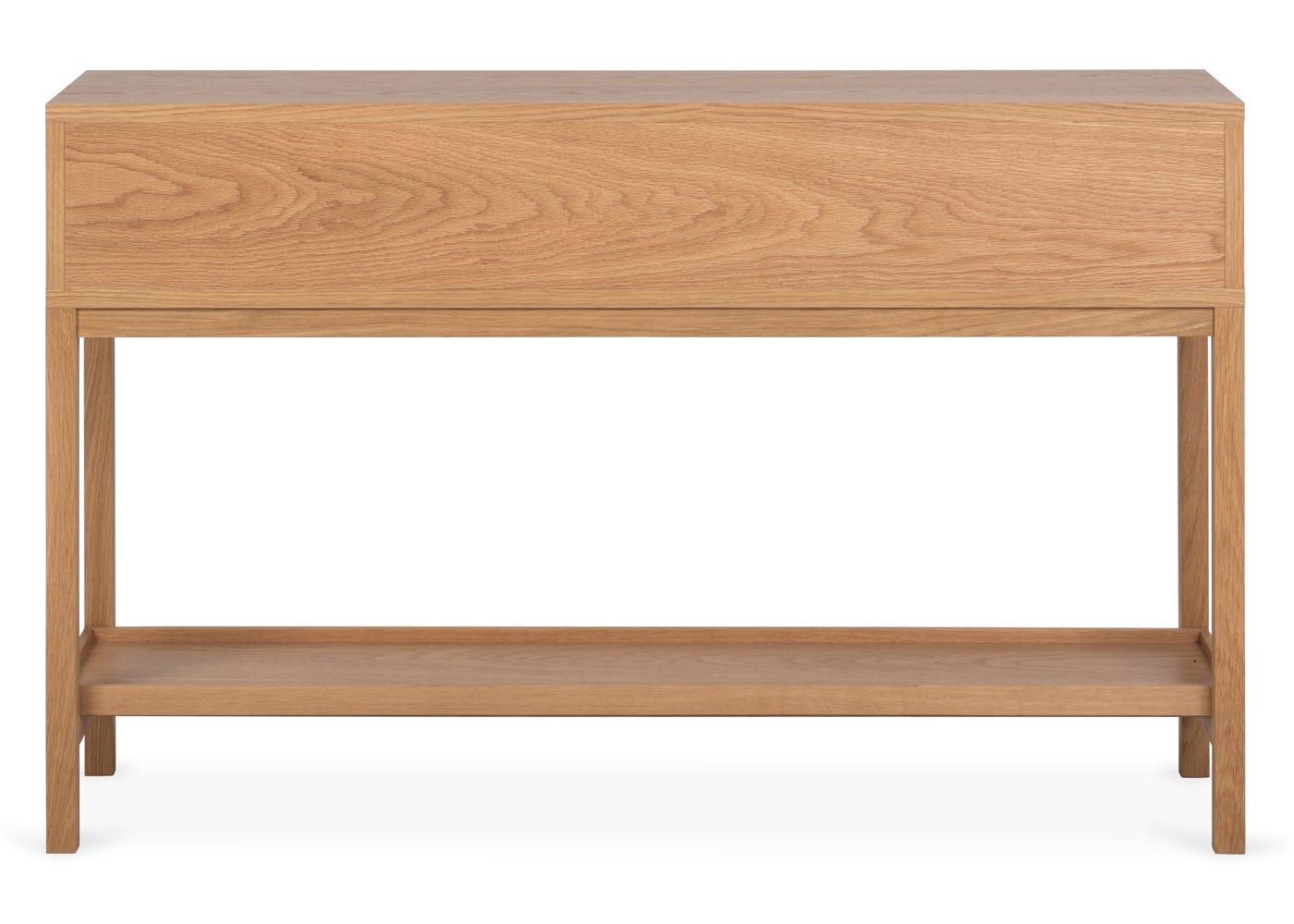 As shown: Verona oak console table - Rear profile.