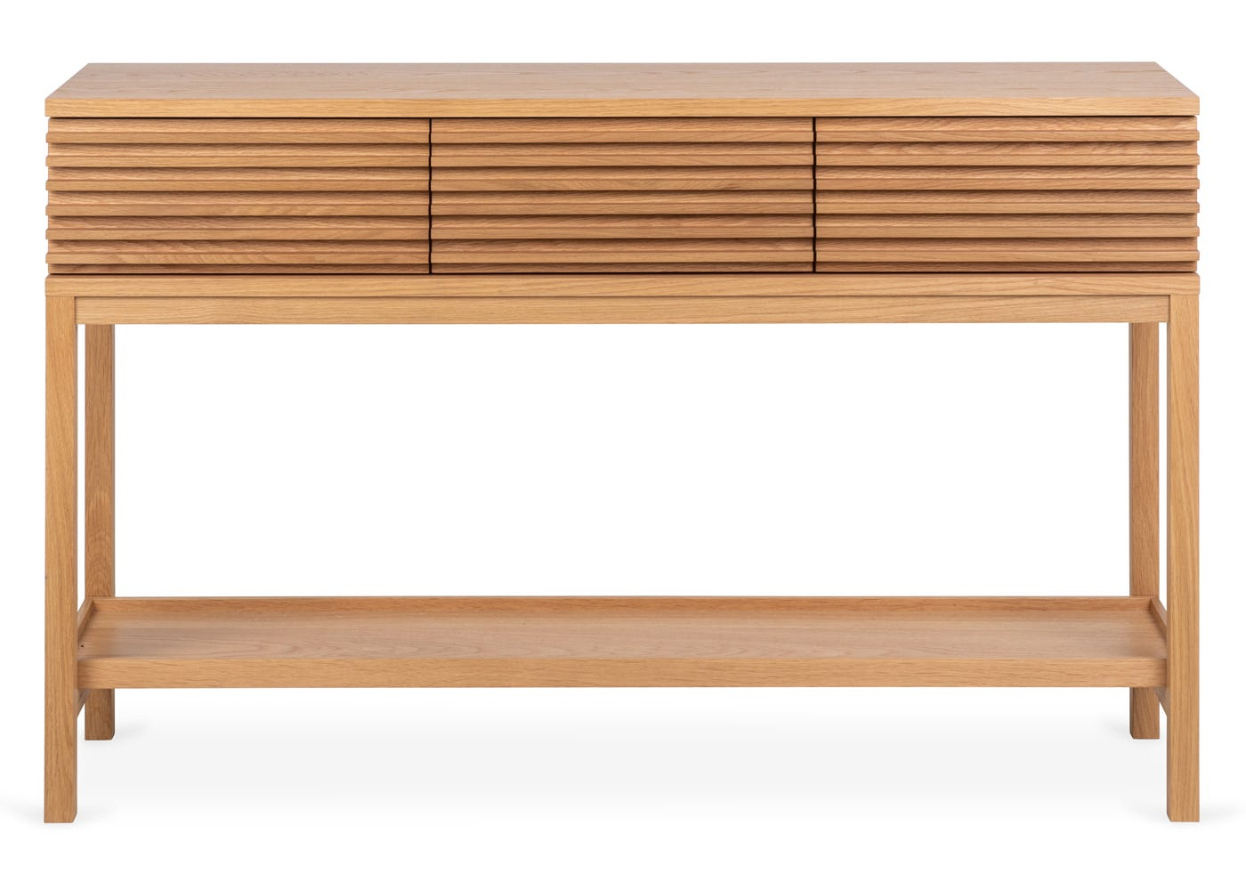 As shown: Verona oak console table - Side profile. - Front profile.