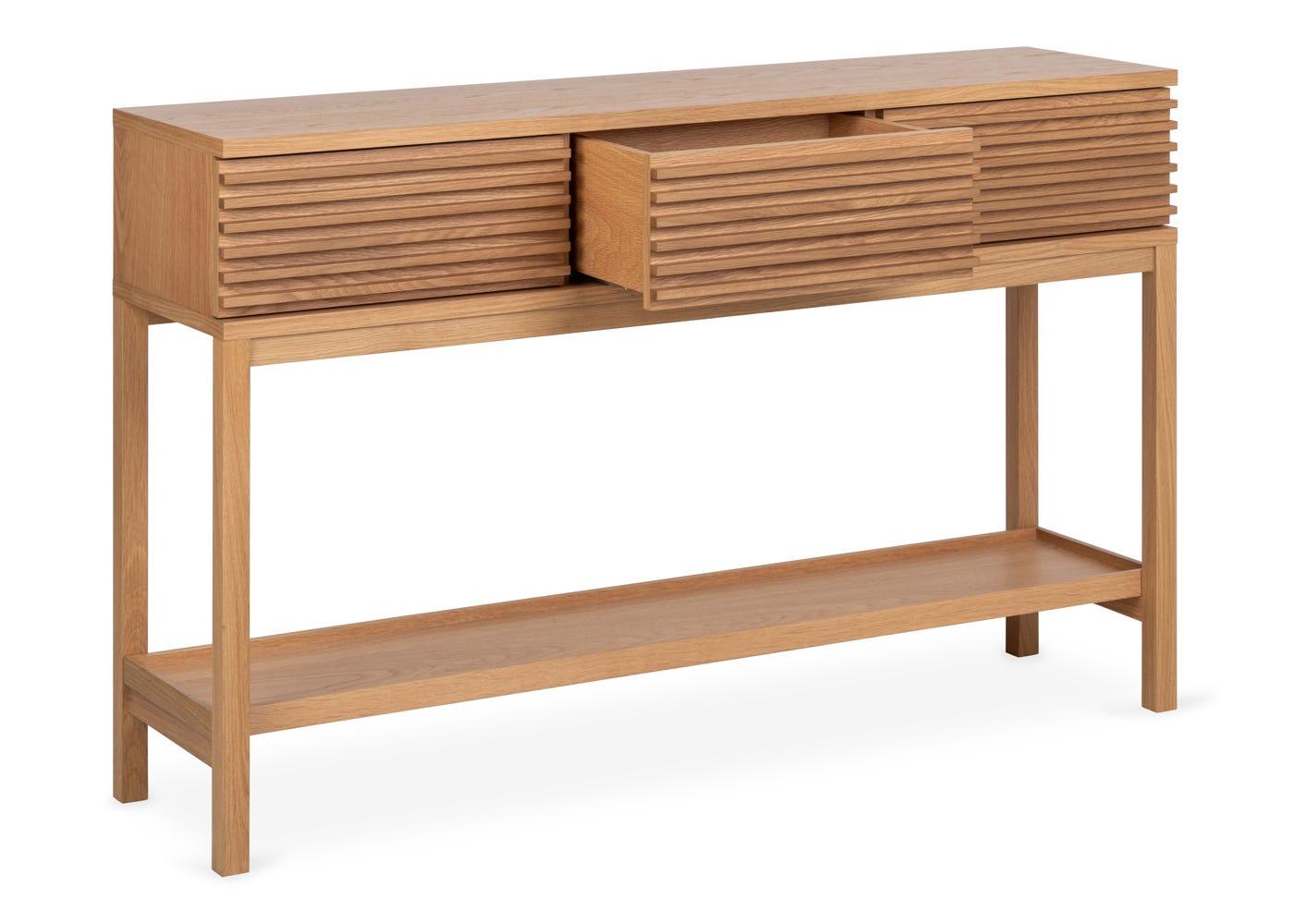 As shown: Verona oak console table.