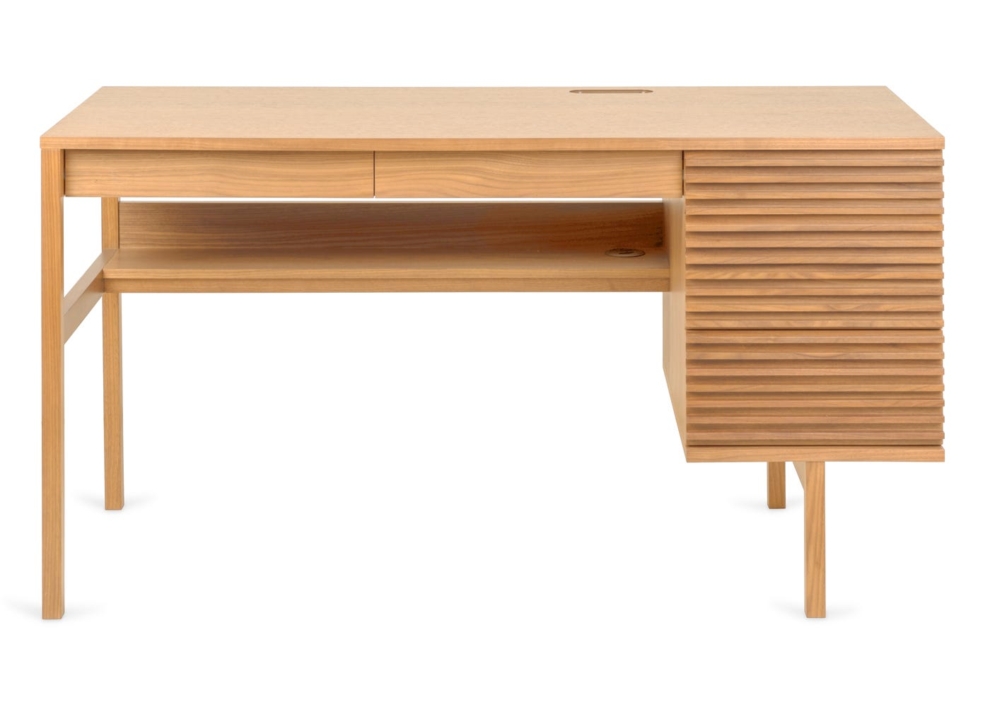 Verona desk in oak - Front profile.