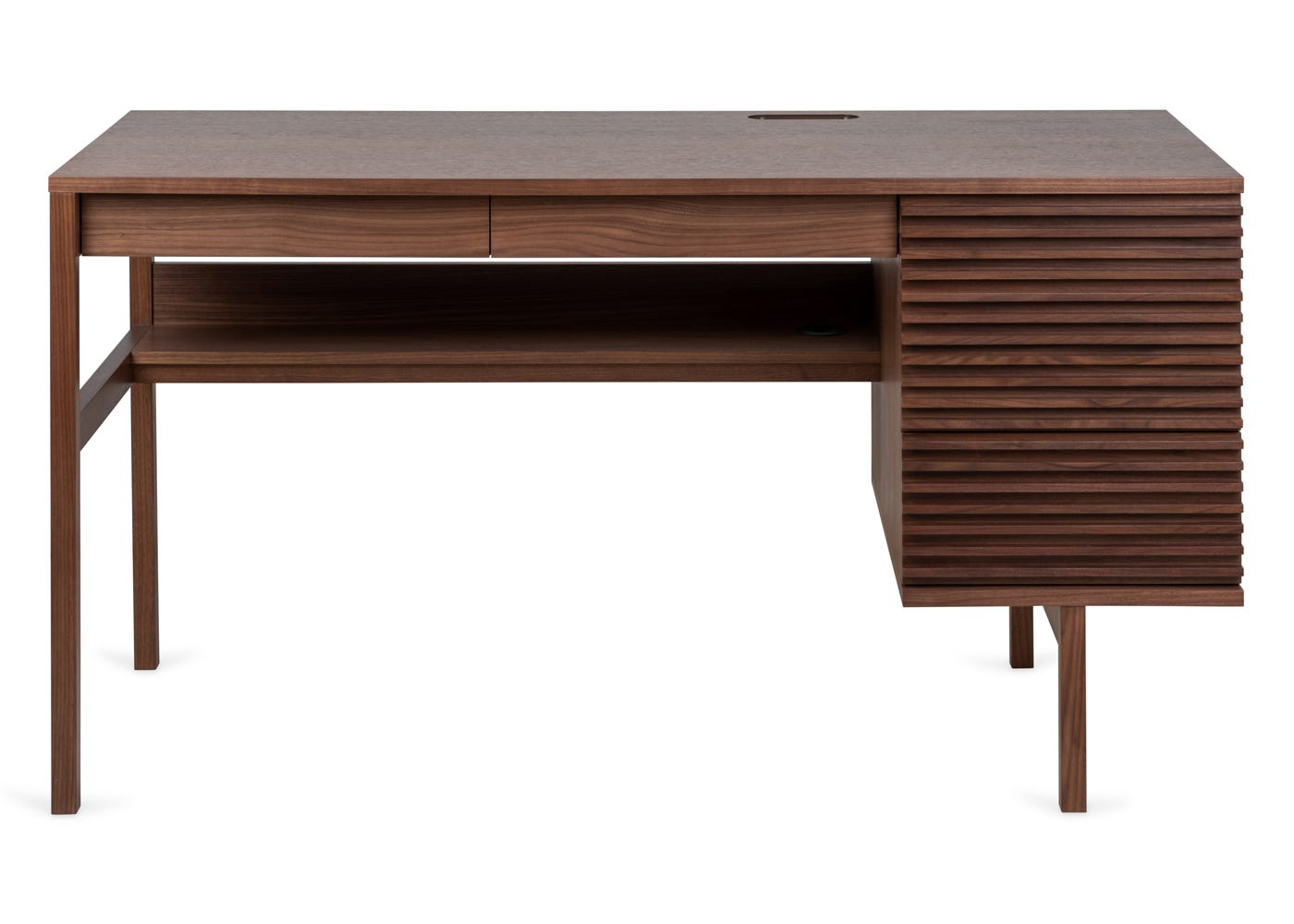 Verona desk in walnut - Front profile.