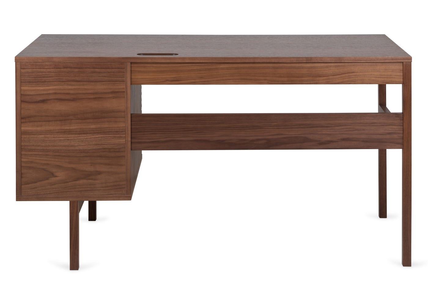 Verona desk in walnut - Rear profile.