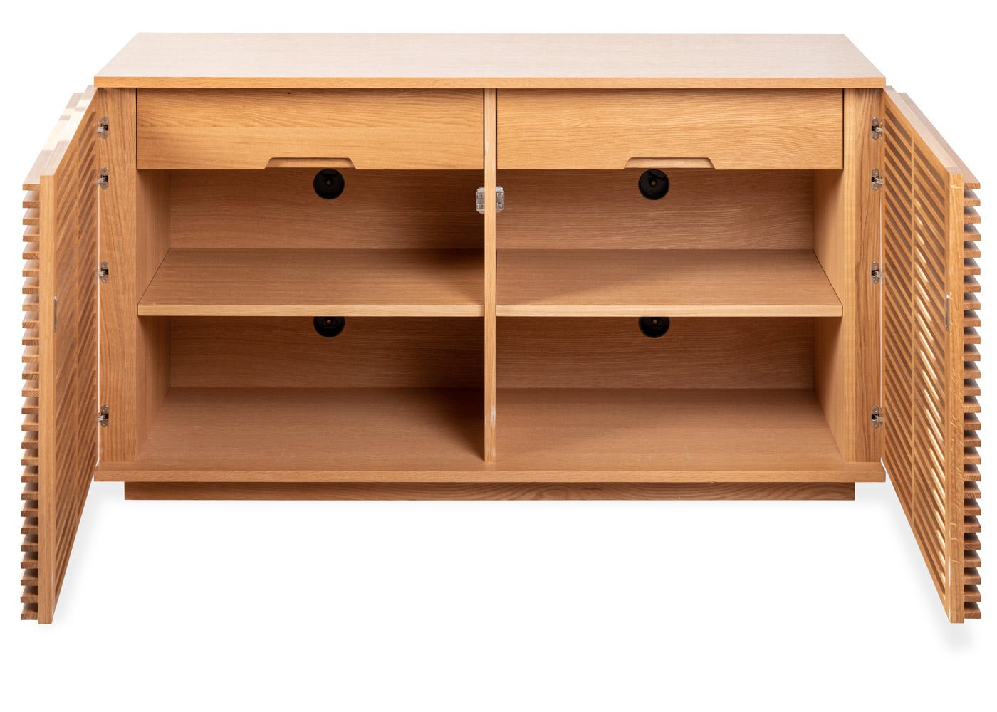 As shown: Verona small sideboard in oak - interior with cable management system holes.