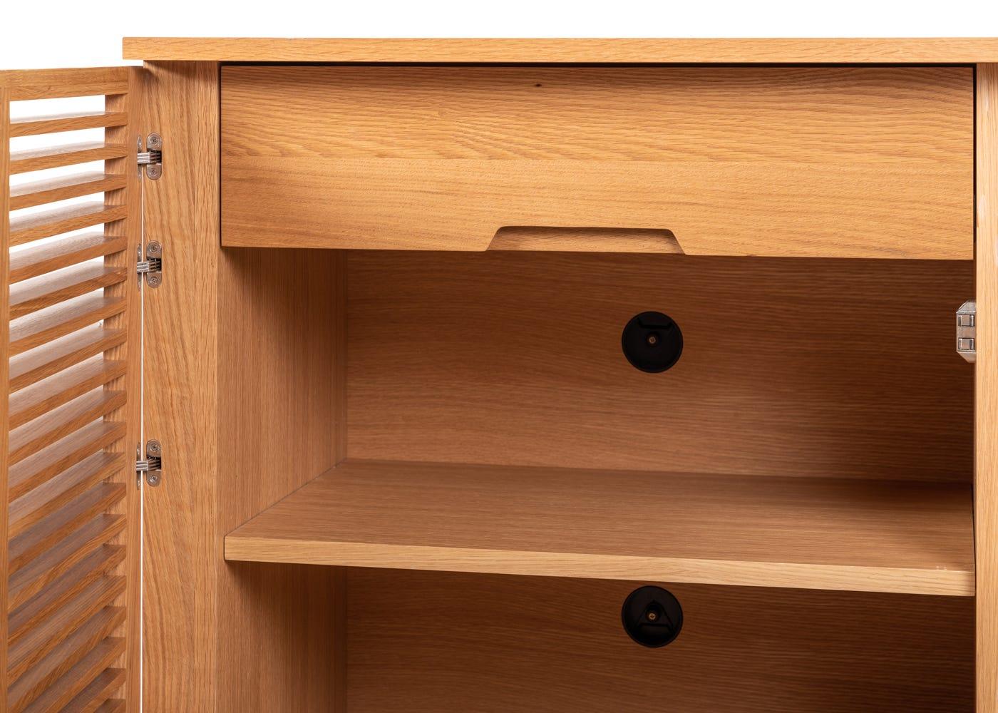 As shown: Verona small sideboard in oak - interior.