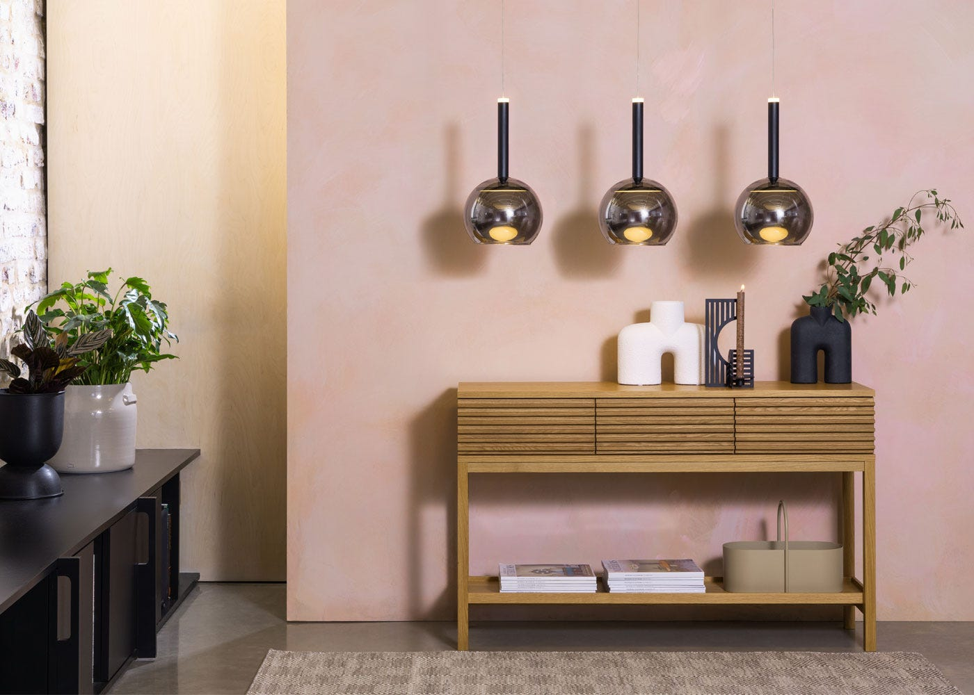 Disc LED Pendant light Black with smocked glass globe (sold separately), Verona console table.
