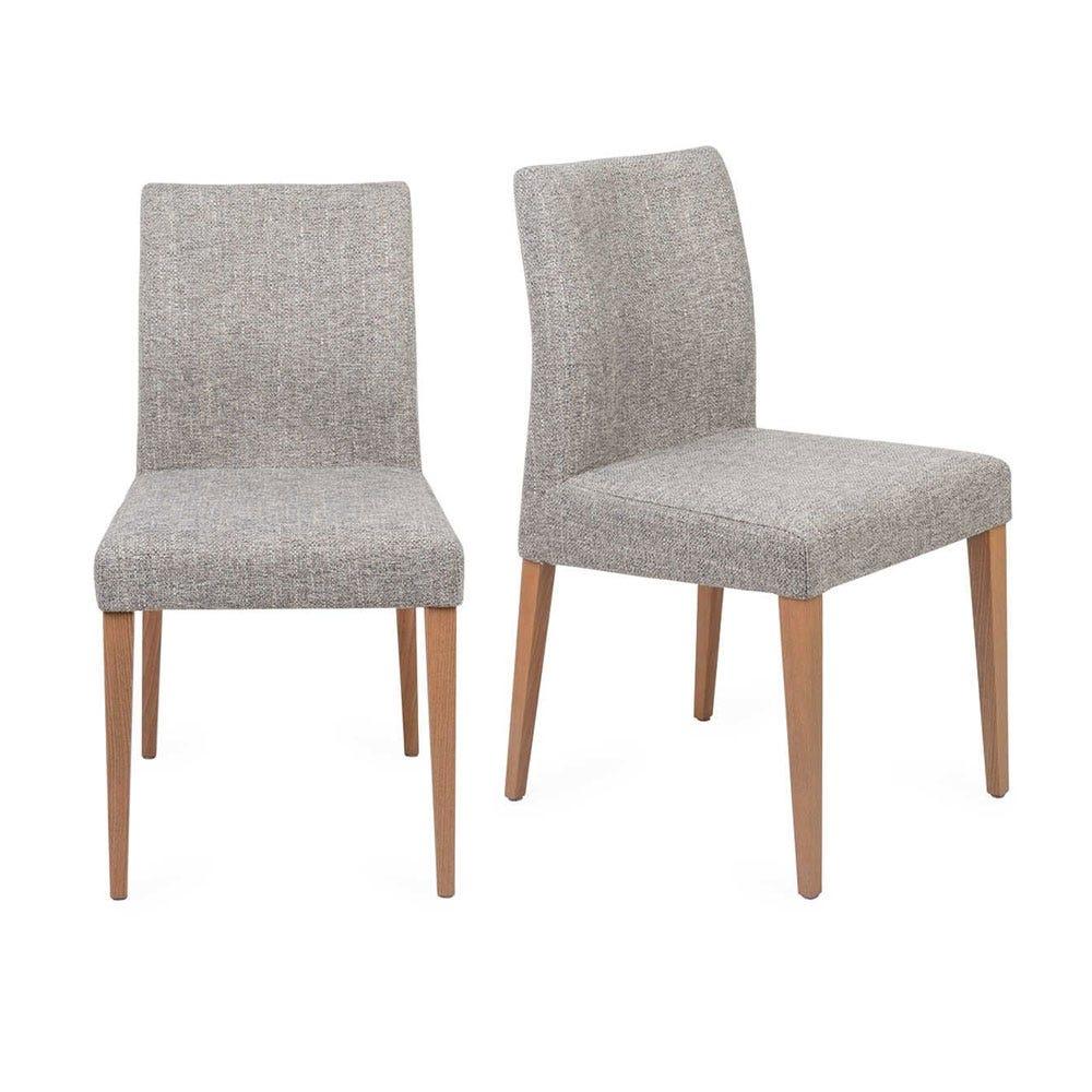 Hudson Pair of Dining Chairs Volcano Zinc Dark Stain Legs