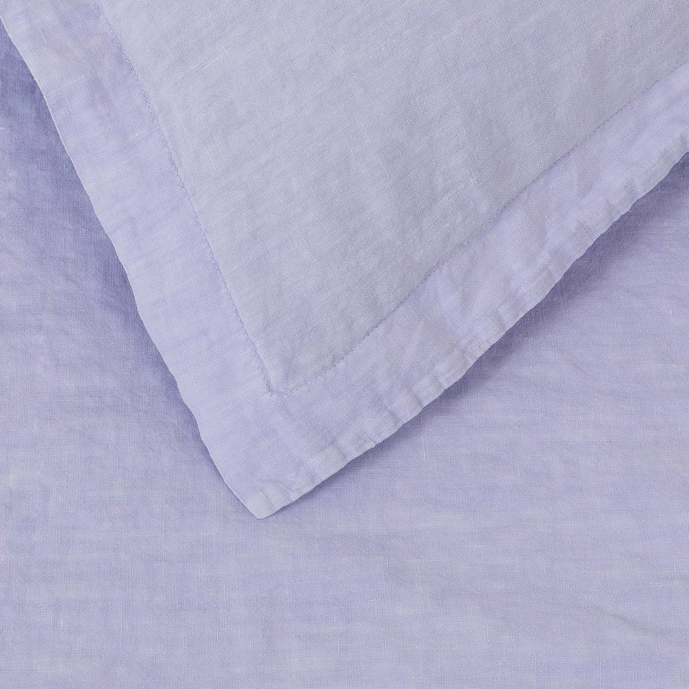 Washed Linen Lilac Fitted Sheet Super King