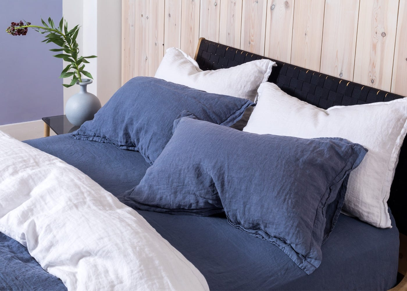 Washed Linen Blue Double Duvet Cover Heal S Uk