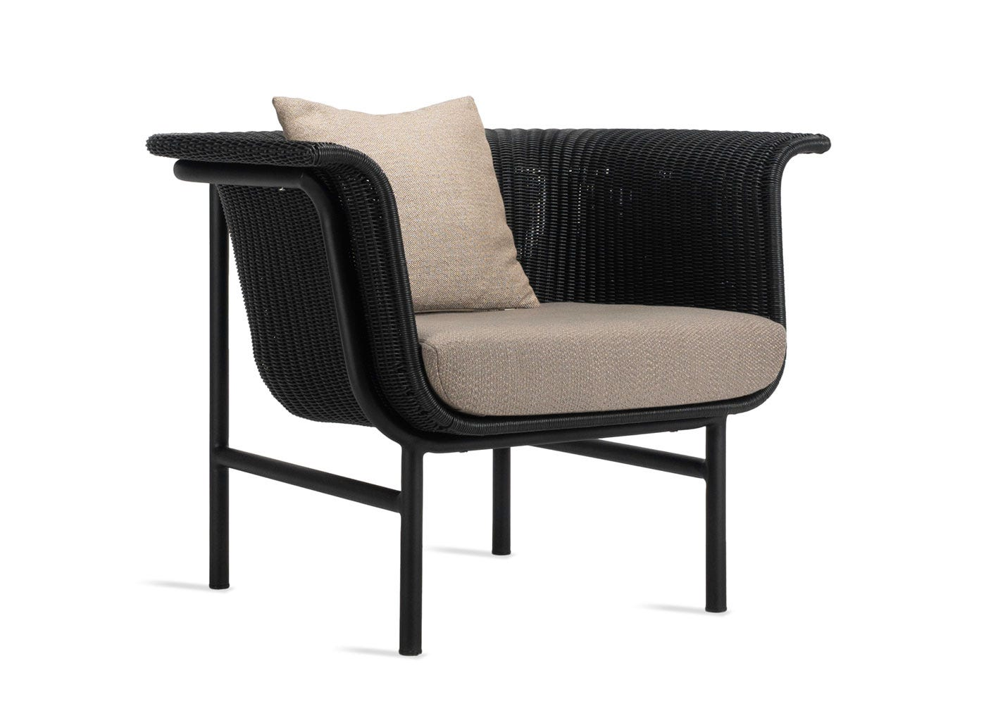 Wicked lounge chair almond material (please note the pictured scatter cushion is not included) - Side profile