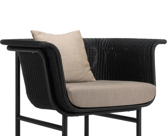 The wicked lounge chair is designed to be visually lightweight and has a floating effect.