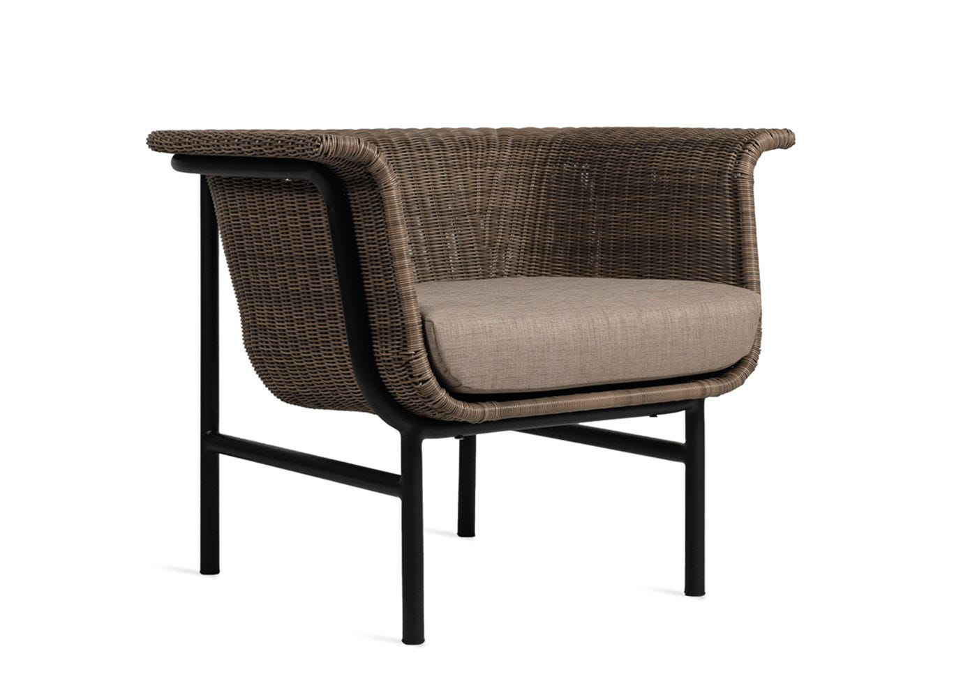 Wicked lounge chair taupe material - Side profile.