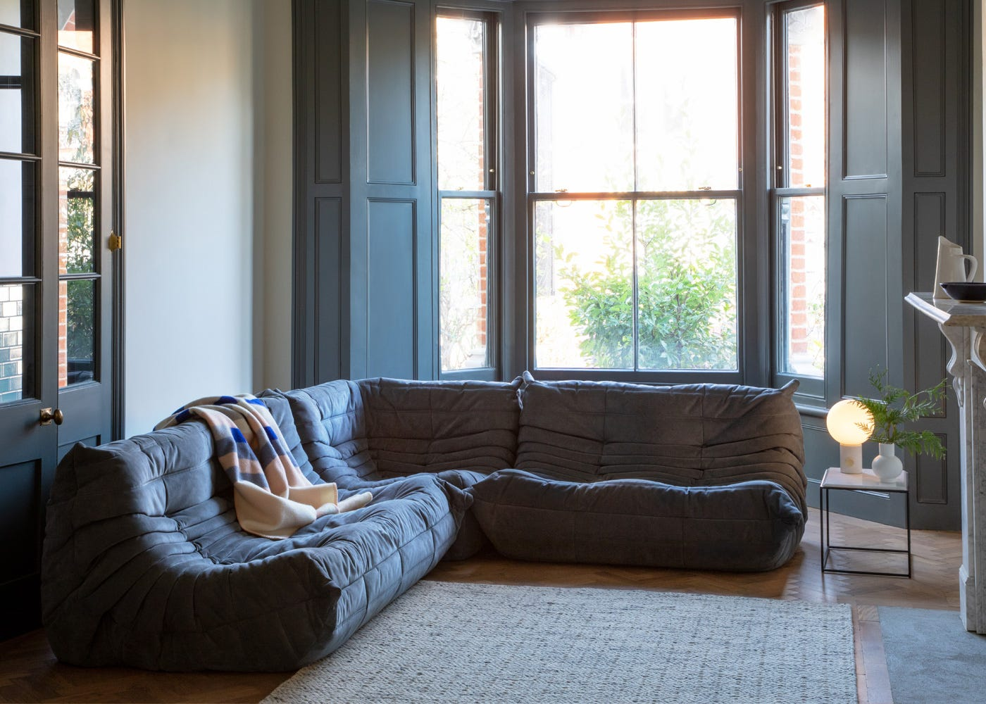 Togo Complete Corner in Alcantara Chic Grey. Pair your Large Settee with the Small Settee and Corner Seat to complete this look