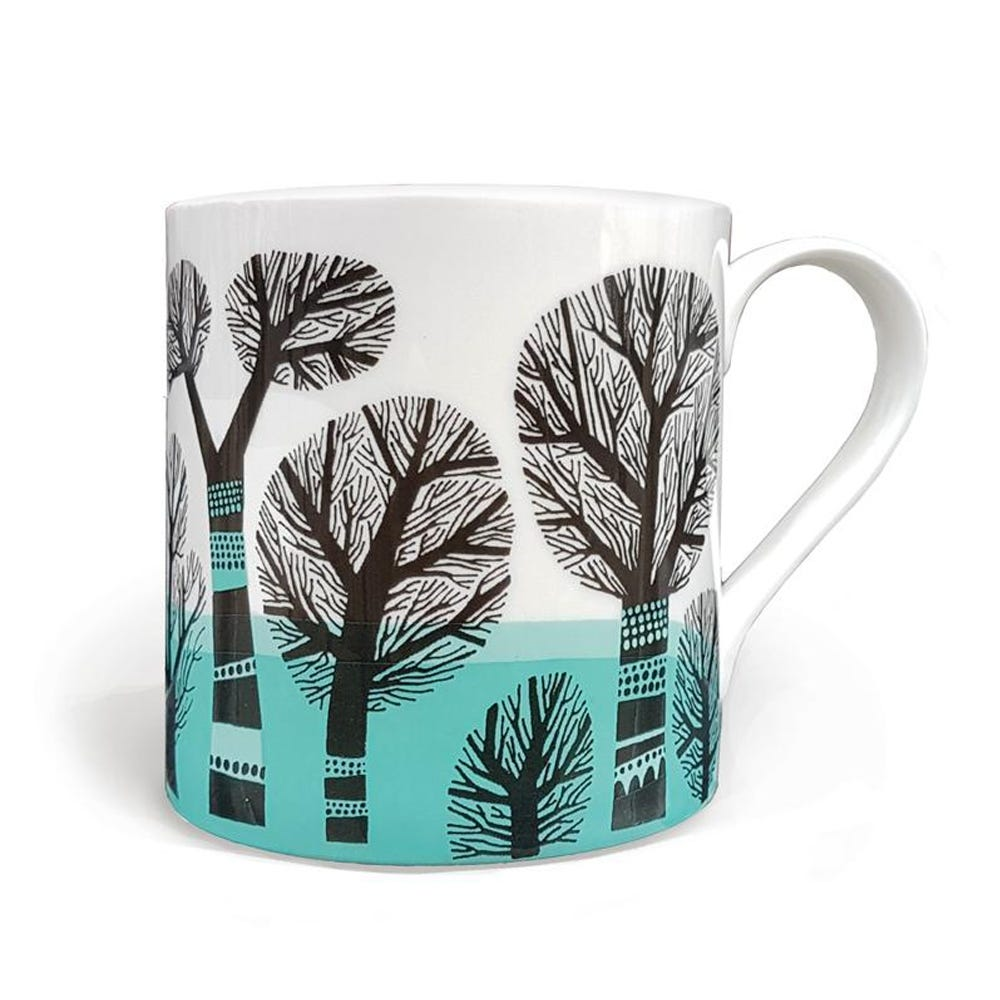 Lush Designs Winter Trees Mug Turquoise